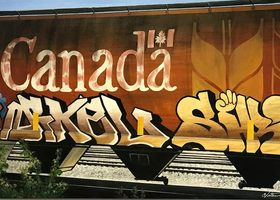"Cameron Porteous ""Canada Car"" 2014, acrylic on canvas, 24 x 36 inches"